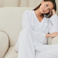 Double Cotton Pyjama Set, White, Large