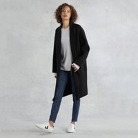 Double-Faced Layered Coat, Black, Small