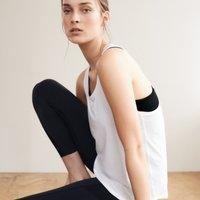 Double-Layer Workout Vest Top, White/Black, Medium