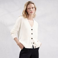 Double V-Neck Cardigan, Porcelain, 4