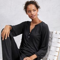 Drapey Stitch Pyjama Set , Dark Charcoal Marl, Extra Small