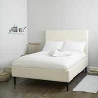 Dulwich Cotton Bed - Dark Stained Beech Leg, Pearl Cotton, Emperor