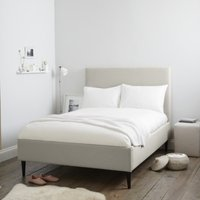 Dulwich Cotton Bed - Natural Oak Leg, Silver Cotton, King