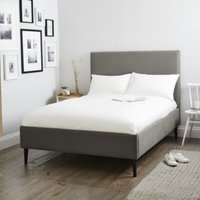 Dulwich Cotton Bed - Natural Oak Leg, Grey Cotton, Double