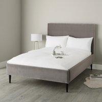 Dulwich Velvet Bed - Dark Stained Beech Leg, Silver Grey Velvet, Double