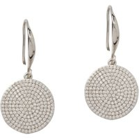 Silver Plated Pave Disc Earrings