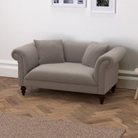 Earlsfield Velvet Natural Oak Legs, Silver Grey Velvet, One Size