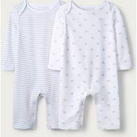 Elephant & Stripe Sleepsuit - Set of 2, White, Newborn