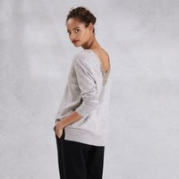 Embellished V Back Jumper with Cashmere, Pale Grey Marl, 8