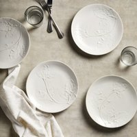 Embossed Leaf Plate – Set of 4 , White, One Size