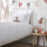 Embroidered Heart Bed Linen Set, White/Pink, Single