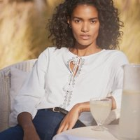 Embroidered Jersey Blouse, White, 4