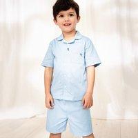 Embroidered Shark Pyjamas (1-12yrs), Blue, 3-4yrs