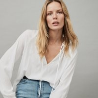 Embroidered Tie-Neck Blouse, Ivory, 16