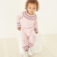 Fair Isle Knitted Romper, Pink, 3-6mths