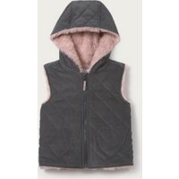 Faux-Fur Lined Cord Gilet, Grey, 18-24mths