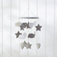 Felt Cloud & Star Mobile, Grey White, One Size