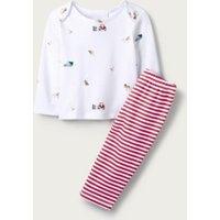 Festive Farm Pyjamas, White, 9-12mths