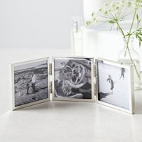 "Fine Silver Triple Aperture Hinged Photo Frame 3x3"" , Silver, One Size"