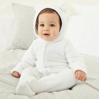 Fleece Romper, White, 3-6mths