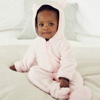 Fleece Romper, Whisper Pink, 3-6mths