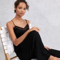Flocked Star Bobble Trim Pyjama Set, Black, Small