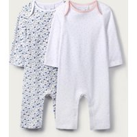 Floral & Dot Sleepsuits - Set of 2, White, 3-6mths