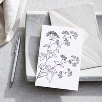 Floral Cow Parsley Card, White, One Size