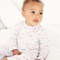 Floral Sleepsuit, White, 6-9mths