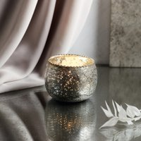 Frill Top Mercury Tealight Holder, Silver, One Size