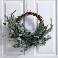 Frosted Green Pine Cone Wreath , Natural, One Size