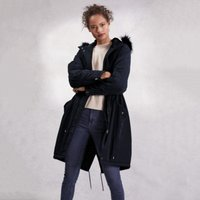 Fur Lined Parka Coat, Navy, 14