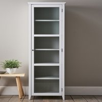 Narrow Glass Storage Cabinet, White Grey, One Size