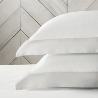 Genoa Oxford Pillowcase - Single, White Silver, Standard