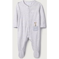 Giraffe Embroidered Pocket Sleepsuit, White, 12-18mths