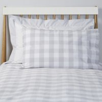 Gingham Classic Pillowcase, Cool Grey, Cot Bed