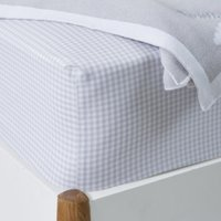 Gingham Fitted Sheet, Cool Grey, Single