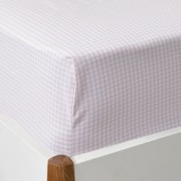 Gingham Fitted Sheet, Chalk Pink, Double