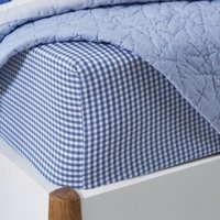 Gingham Fitted Sheet, Moonlight Blue, Cot Bed