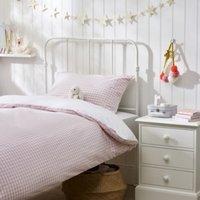 Reversible Gingham Bed Linen Set, Pink, Cot Bed