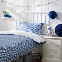 Reversible Gingham Bed Linen Set, Blue, Double