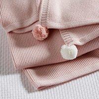 Cotton Pom-Pom Baby Blanket, Pink, One Size