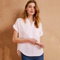 Linen Gauze Gathered Neck Top