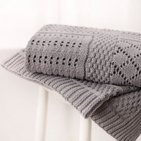 Knitted Patchwork Baby Blanket, Grey, One Size