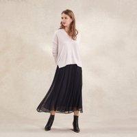 Georgette Pleat Midi Skirt, Navy, 16