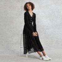 Georgette Pleated Midi Skirt, Black, 6