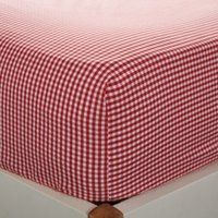 Gingham Fitted Sheet, Post Box Red, Cot Bed