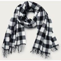 Gingham Long Wool Scarf, Black, One Size