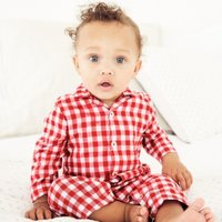 Gingham Sleepsuit with Toy, White/ Red, Newborn