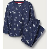 Glow-In-The-Dark Reindeer Print Pyjamas (1-12yrs), Blue, 3-4yrs